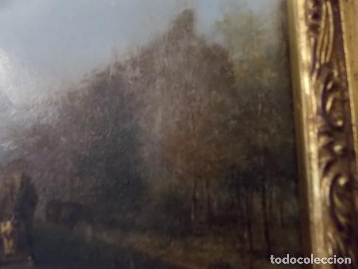 Arte: ESPECTACULAR Y ANTIGUO OLEO SOBRE TABLA SIGLO XIX XVIII ESCENA GRANJA RUSIA - Foto 11 - 163512290
