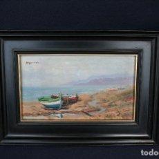 Arte: M. NAVARRETE . BONITA MARINA,OLEO SOBRE TABLA, FIRMADO.. Lote 163515742