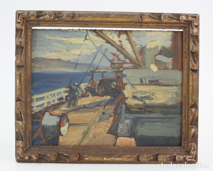 PROSPER MARY COLAT (TARBES, FRANCIA 1882-1954), BARCA Y MARINERO, PINTURA AL ÓLEO SOBRE TABLA. (Arte - Pintura - Pintura al Óleo Contemporánea )