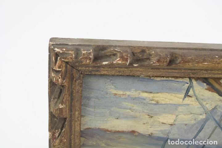 Arte: Prosper Mary Colat (Tarbes, Francia 1882-1954), barca y marinero, pintura al óleo sobre tabla. - Foto 3 - 163711858