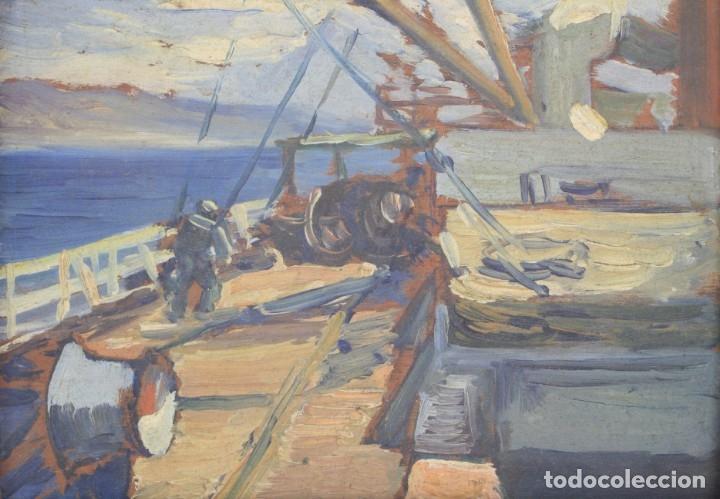 Arte: Prosper Mary Colat (Tarbes, Francia 1882-1954), barca y marinero, pintura al óleo sobre tabla. - Foto 2 - 163711858