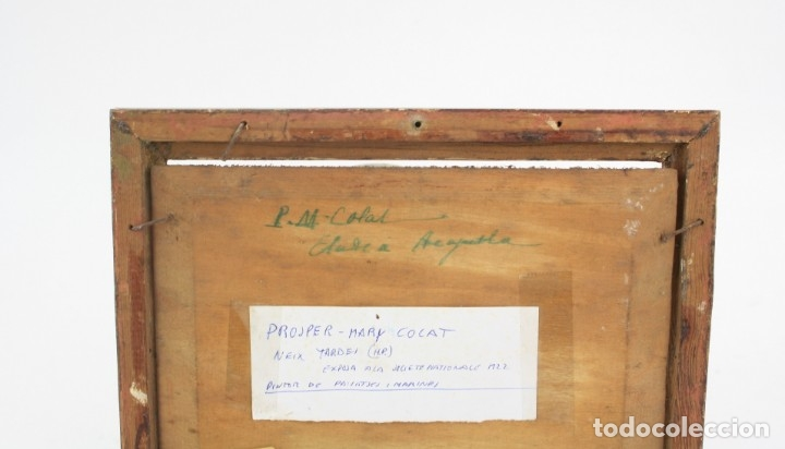 Arte: Prosper Mary Colat (Tarbes, Francia 1882-1954), barca y marinero, pintura al óleo sobre tabla. - Foto 4 - 163711858