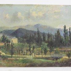 Arte: PINTURA AL ÓLEO SOBRE TABLA, PAISAJE, MONTAÑAS, CASA Y ÁRBOLES, 1876, FIRMADA DE CASTRO. VER FOTOS.. Lote 163724170