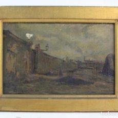 Arte: CALLE DE PUEBLO, PINTURA AL ÓLEO SOBRE TELA, FIRMA ILEGIBLE, CON MARCO. 25X18CM. Lote 163724954