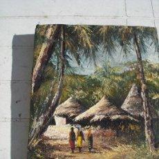 Arte: BONITO OLEO AFRICANO REALIZADO CREO A ESPATULA VER FOTOS PRECIO INTERESANTE. Lote 163750054