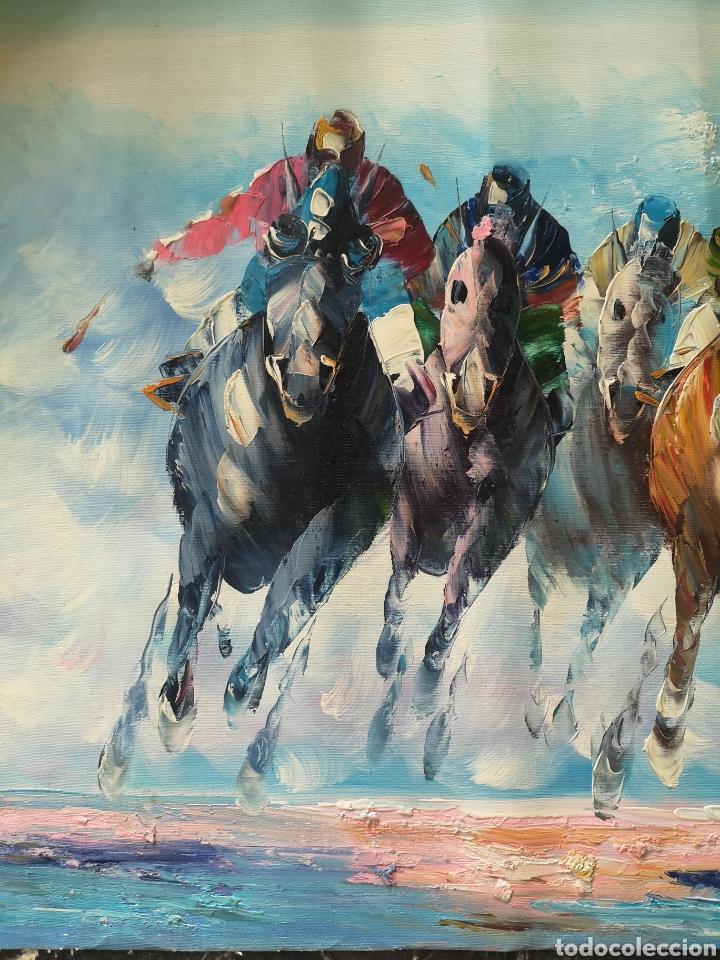 Arte: OLEO SOBRE LIENZO, CARRERA DE CABALLOS, GRAN CALIDAD, FIRMADO, ILEGIBLE. SIN BASTIDOR.52X64 - Foto 2 - 163774668