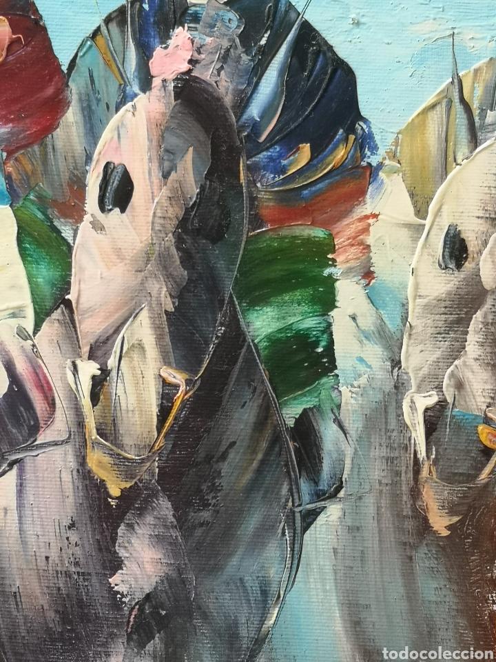Arte: OLEO SOBRE LIENZO, CARRERA DE CABALLOS, GRAN CALIDAD, FIRMADO, ILEGIBLE. SIN BASTIDOR.52X64 - Foto 6 - 163774668