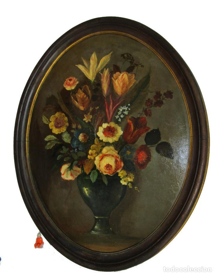Arte: PRECIOSA PINTURA BODEGON FLORAL SOBRE TABLA Y MARCO MADERA CAOBA AÑOS 30 - Foto 2 - 163799394