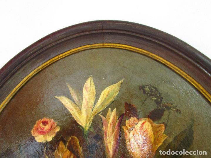Arte: PRECIOSA PINTURA BODEGON FLORAL SOBRE TABLA Y MARCO MADERA CAOBA AÑOS 30 - Foto 3 - 163799394