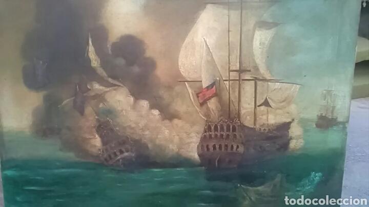 Arte: Dos pinturas al oleo sobre lienzo de pricipio de XX PARA DECORACIÓN BAR ETC, R DOS ÚLTIMAS MODERNAS - Foto 2 - 163816789