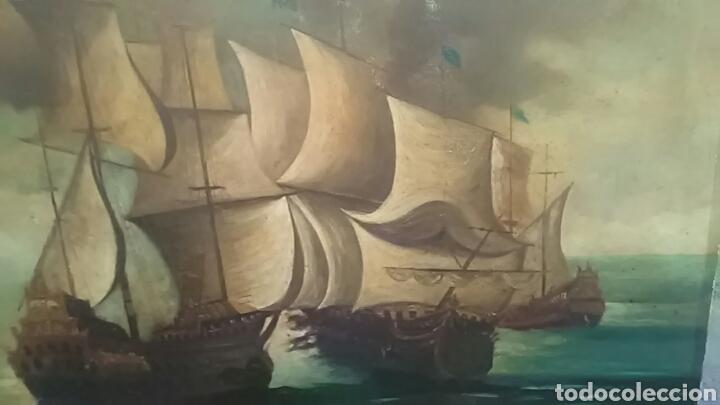 Arte: Dos pinturas al oleo sobre lienzo de pricipio de XX PARA DECORACIÓN BAR ETC, R DOS ÚLTIMAS MODERNAS - Foto 3 - 163816789