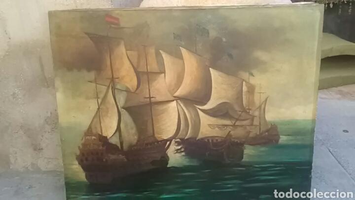 Arte: Dos pinturas al oleo sobre lienzo de pricipio de XX PARA DECORACIÓN BAR ETC, R DOS ÚLTIMAS MODERNAS - Foto 5 - 163816789