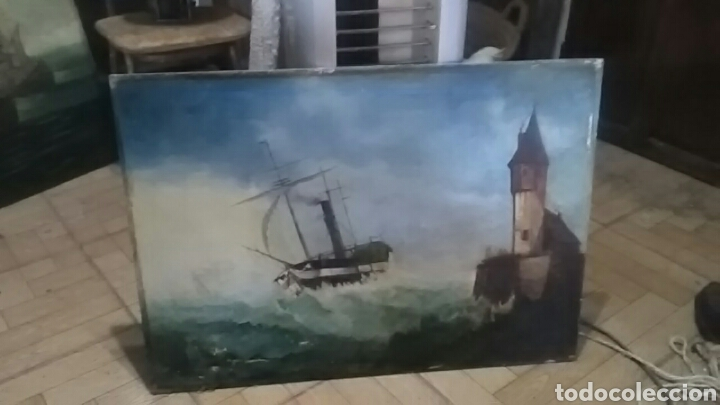 Arte: Dos pinturas al oleo sobre lienzo de pricipio de XX PARA DECORACIÓN BAR ETC, R DOS ÚLTIMAS MODERNAS - Foto 6 - 163816789