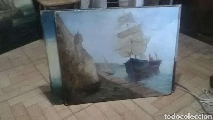 Arte: Dos pinturas al oleo sobre lienzo de pricipio de XX PARA DECORACIÓN BAR ETC, R DOS ÚLTIMAS MODERNAS - Foto 7 - 163816789