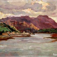 Arte: FIRMADO BERNAL. OLEO SOBRE CARTON FECHADO DEL AÑO 1928. DESEMBOCADURA DEL SELLA EN RIBADESELLA. Lote 207084888