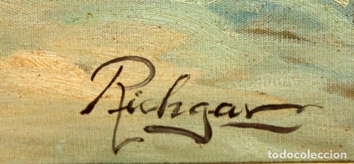 Arte: FIRMADO RICHGAR. OLEO SOBRE TELA DE APROXIMADAMENTE 1960. ESCENA URBANA. 75 CM. X 150 CM. - Foto 14 - 164120126