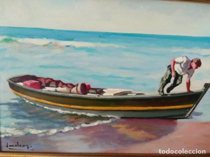 Arte: CUADRO PAREJA DE MARINAS OLEO SOBRE LIENZO IMPORTANTES MARCO - Foto 8 - 164219262