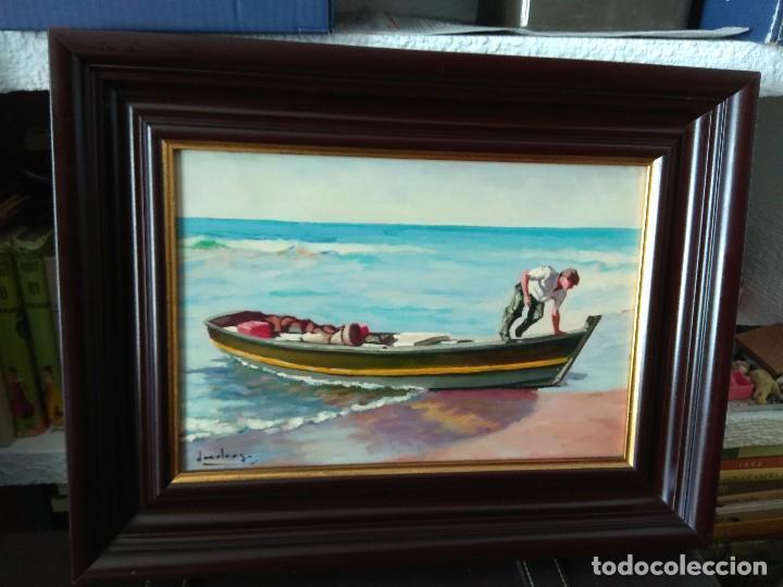 Arte: CUADRO PAREJA DE MARINAS OLEO SOBRE LIENZO IMPORTANTES MARCO - Foto 10 - 164219262