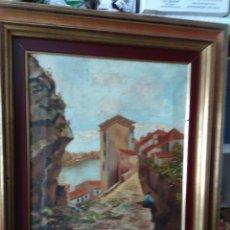 Arte: CUADRO OLEO SOBRE LIENZO PUEBLO CATALAN IMPORTANTES MARCO. Lote 164225074