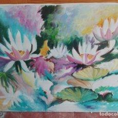 Arte: FLORES FIGURATIVA MEDIDAS DE 70 X 90. Lote 164587010