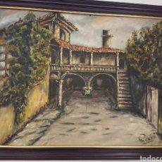 Arte: OLEO PAZO ANTIGUO DE GALICIA, CAMBADOS? 72X53CM. Lote 164726396