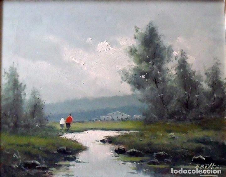 Arte: Enrique Beltrán Messa. Óleo sobre tela. Paisaje, río y personajes. Buen estado. Firmado a mano. - Foto 2 - 164743650