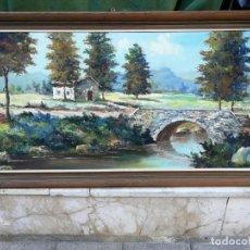 Arte: GRAN CUADRO PAISAJE AL OLEO FIRMADO FERRER 165 X 65 CM.. Lote 164767142