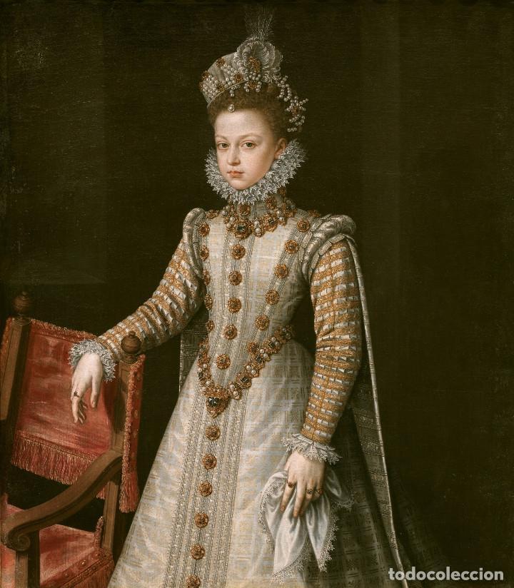 PINTURA DEL SIGLO XV AL ÓLEO SOBRE LIENZO REALIZADA 100% A MANO. INFANTA ISABEL. 90X70CM. (Arte - Pintura - Pintura al Óleo Antigua siglo XV)