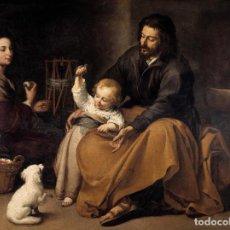 Arte: PINTURA DEL SIGLO XVII AL ÓLEO SOBRE LIENZO, 100% A MANO. SAGRADA FAMILIA. 80X90CM. Lote 164804366