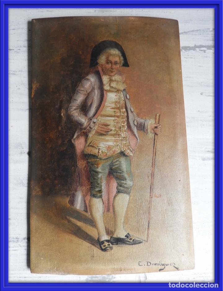OLEO SOBRE PAPEL EN TABLA DE UN NOBLE FIRMADO S. XIX (Arte - Pintura - Pintura al Óleo Antigua sin fecha definida)