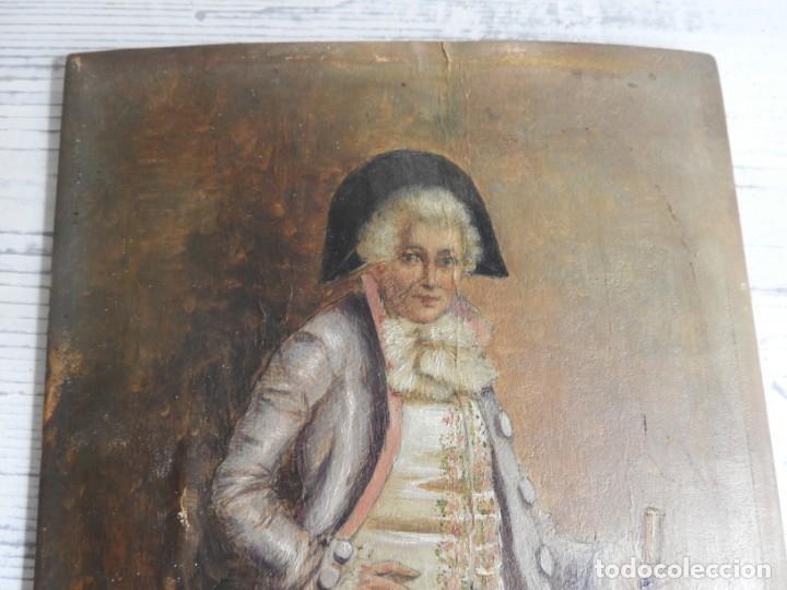 Arte: OLEO SOBRE PAPEL EN TABLA DE UN NOBLE FIRMADO S. XIX - Foto 4 - 164882438