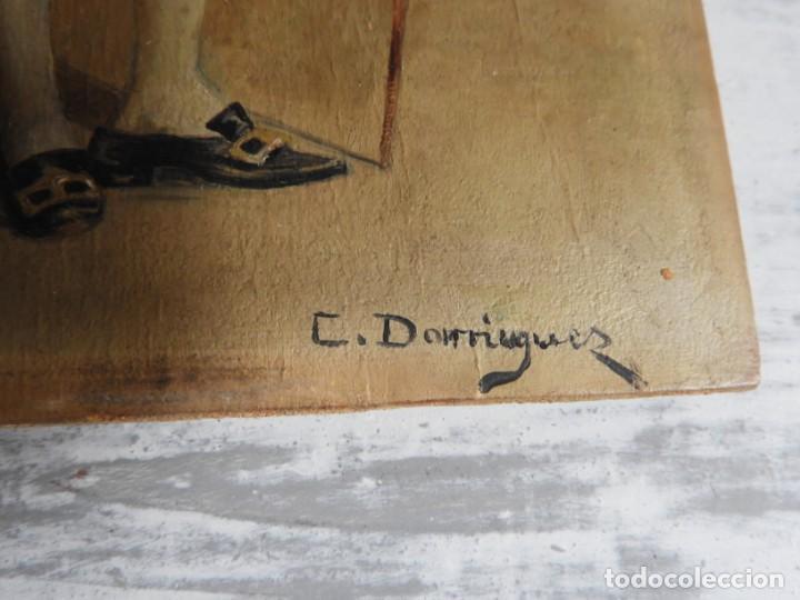 Arte: OLEO SOBRE PAPEL EN TABLA DE UN NOBLE FIRMADO S. XIX - Foto 6 - 164882438