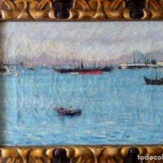Arte - Oleo pequeña marina, puerto, finales XIX - 164931342