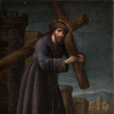 Arte: ÓLEO S/LIENZO -CRISTO CON LA CRUZ-. ESCUELA BARROCA SEVILLANA S. XVII. DIM.- 67X48 CMS. . Lote 164967670