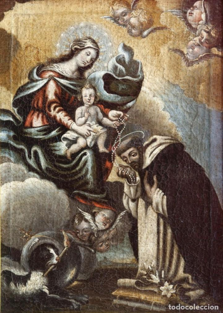 ÓLEO S/LIENZO -VIRGEN DEL ROSARIO CON STO DOMINGO-. CÍRCULOJUAN DE VALDÉS LEAL S. XVII. 75X61 CMS (Arte - Pintura - Pintura al Óleo Antigua siglo XVII)