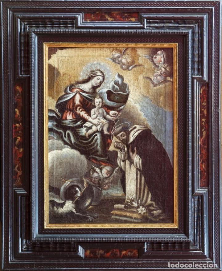 Arte: ÓLEO S/LIENZO -VIRGEN DEL ROSARIO CON STO DOMINGO-. CÍRCULOJUAN DE VALDÉS LEAL S. XVII. 75X61 CMS - Foto 2 - 164969642