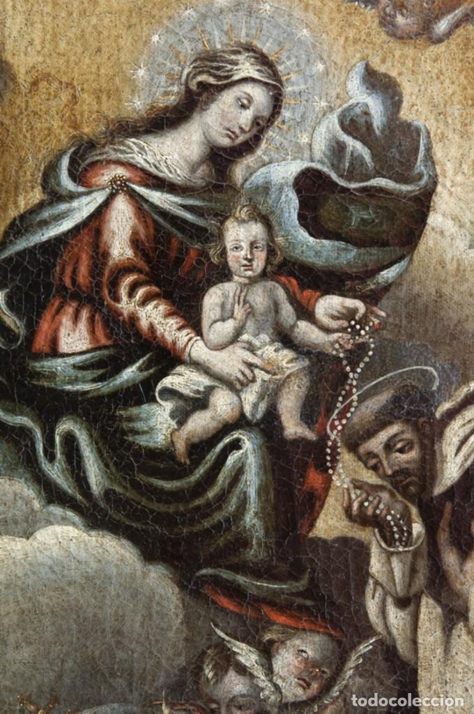 Arte: ÓLEO S/LIENZO -VIRGEN DEL ROSARIO CON STO DOMINGO-. CÍRCULOJUAN DE VALDÉS LEAL S. XVII. 75X61 CMS - Foto 3 - 164969642