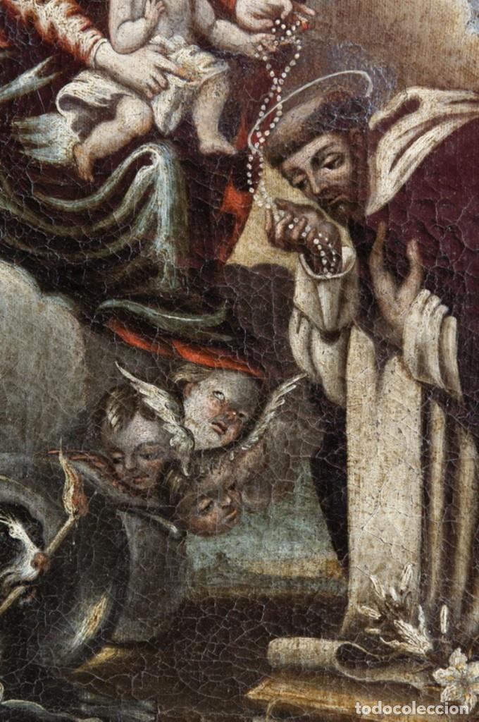 Arte: ÓLEO S/LIENZO -VIRGEN DEL ROSARIO CON STO DOMINGO-. CÍRCULOJUAN DE VALDÉS LEAL S. XVII. 75X61 CMS - Foto 4 - 164969642