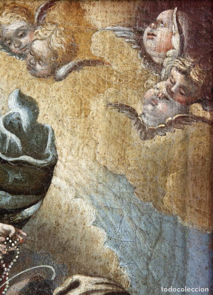 Arte: ÓLEO S/LIENZO -VIRGEN DEL ROSARIO CON STO DOMINGO-. CÍRCULOJUAN DE VALDÉS LEAL S. XVII. 75X61 CMS - Foto 5 - 164969642