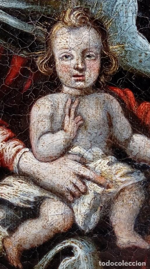 Arte: ÓLEO S/LIENZO -VIRGEN DEL ROSARIO CON STO DOMINGO-. CÍRCULOJUAN DE VALDÉS LEAL S. XVII. 75X61 CMS - Foto 9 - 164969642