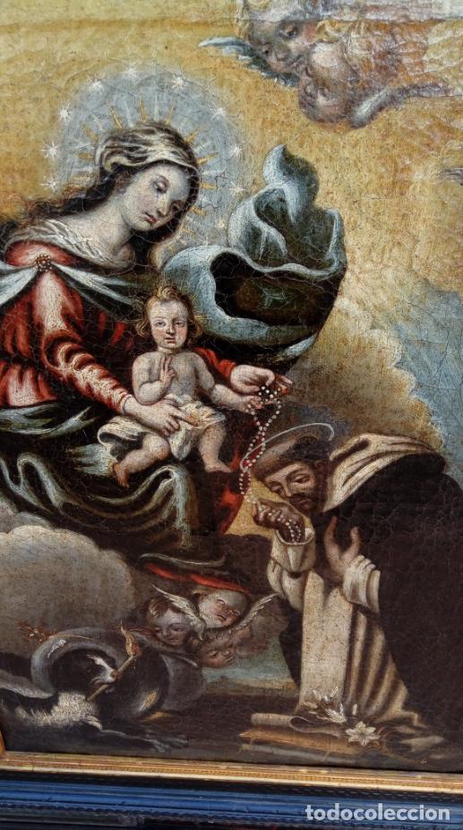 Arte: ÓLEO S/LIENZO -VIRGEN DEL ROSARIO CON STO DOMINGO-. CÍRCULOJUAN DE VALDÉS LEAL S. XVII. 75X61 CMS - Foto 10 - 164969642