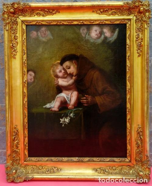ÓLEO S/LIENZO -SAN ANTONIO-. ESCUELA DE MURILLO BARROCA SEVILLANA S. XVIII. DIM.- 81X60 CMS. (Arte - Pintura - Pintura al Óleo Antigua siglo XVIII)