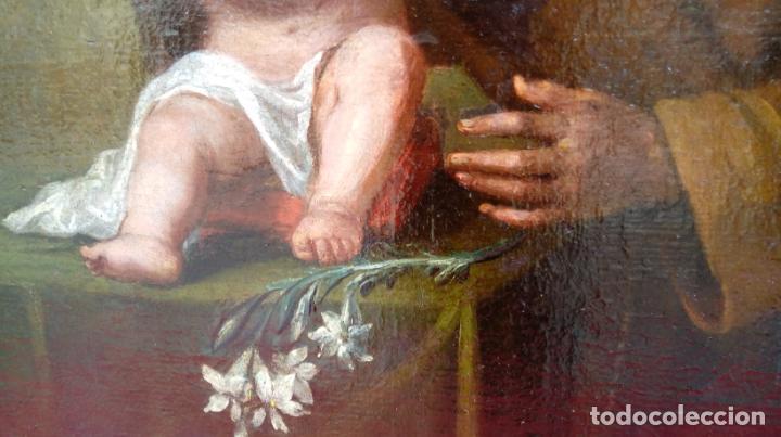 Arte: ÓLEO S/LIENZO -SAN ANTONIO-. ESCUELA DE MURILLO BARROCA SEVILLANA S. XVIII. DIM.- 81X60 CMS. - Foto 4 - 164971454