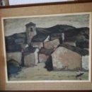 Arte: BONITA PINTURA ENMARCADA REPRESENTANDO A UN PUEBLO. Lote 165021992