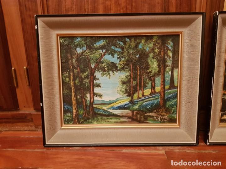 Arte: Lote de cuatro cuadros paisajes al óleo - Foto 3 - 165092138