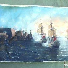 Arte: PINTURA. TOMA DE LA HABANA POR LOS INGLESES. GRAN TAMAÑO. 1 X 1.75 METROS. FIRMA. VER COLORES.. Lote 165153602