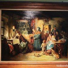 Arte: EDUARD KURZBAUER (1840-1879). LOS REFUGIADOS DERROCADOS. ÓLEO SOBRE LIENZO.. Lote 165180214