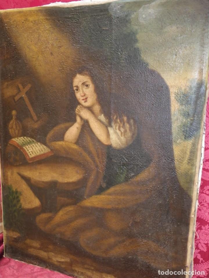 Arte: Magdalena penitente. óleo S-XVIII-XIX - Foto 3 - 165188474