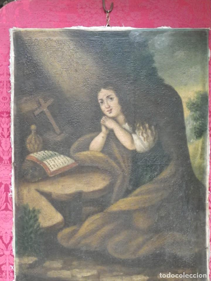 Arte: Magdalena penitente. óleo S-XVIII-XIX - Foto 6 - 165188474