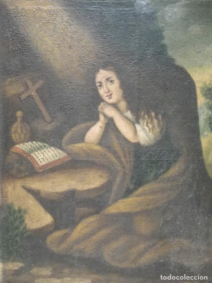 Arte: Magdalena penitente. óleo S-XVIII-XIX - Foto 7 - 165188474